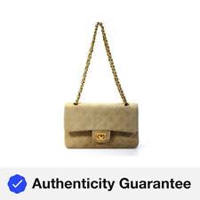 Chanel Mujeres Acolchada Gamuza Retro Clásico Medio Doble Solapa Bolso de mano beige