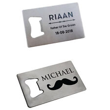 6pcs Personalized Credit Card Bottle Openers Customs Engraved bottle opener