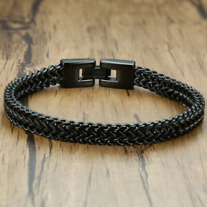 Simple Men Titanium Stainless Steel Double Chain Magnetic Bracelet Watch Bangle