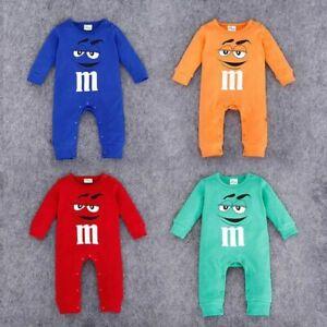 Candy Face M&M Baby Romper Suit Children Outfit Infant Clothes Cartoon Jumpsuit
