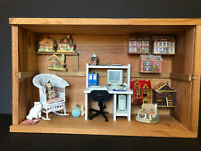 New ListingMiniature Shadow Box Display Home Office Scene with Cats & Mini Doll Houses