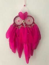 Pink Owl Shape Dream Catcher Wall Hanging Wood Beads & Shell Nose