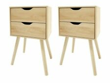Set of 2 - Natural Oak Look Bedside Unit 2 Drawer Scandi Side Table Pair Bedroom