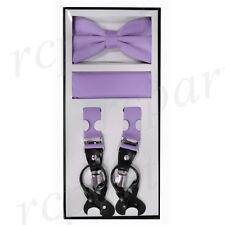 New Men's Convertible skinny Elastic Strap Suspender_Bowtie Hankie lavender