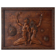 Adam and Eve Wood 3D Carving Art, Nudebody Artwork, Wall Hanging