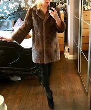 Good vintage ladies brown real fur mid hip length COAT / JACKET. Medium M 10 12
