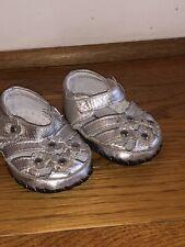 Pediped Originals Infant Crib Shoes metallic silver sandals Size 2.5 (0-6 M) EUC