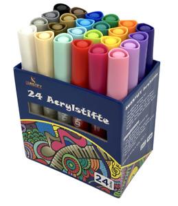 Acrylstifte Marker 24 Farben Set permanent wasserfest Glas Stein Papier Holz DIY