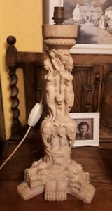 Far Eastern Carved Themed Electric Table Lamp 52 cms