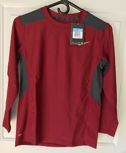 NWT Boys NIKE Wine Gray Dri-Fit Long Sleeve Athletic Shirt, Size M (10-12)