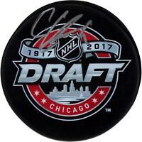 Cody Glass Vegas Golden Knights Autographed 2017 NHL Draft Logo Hockey Puck