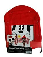 Disney Mickey Mouse Hooded Bath Towel Wrap 100% Cotton 21in x 51in New