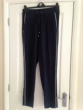 BNWT NEXT Navy Blue Tapered Taper Trousers White Piping 10 Long Leg 30""