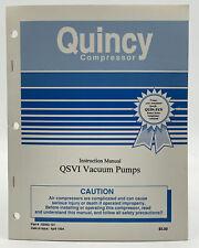 Quincy Compressor Instruction Manual Qsvi Vacuum Pump Owners Book Guide 933