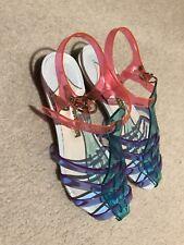 Sophia Webster Women's Jelly Sandal Shoes Flats Iconic Pink Blue Glitter Size 35