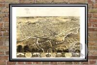 Vintage Fort Wayne, IN Map 1868 - Historic Indiana Art Old Victorian Industrial