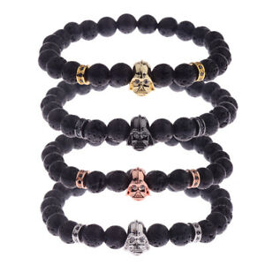 Men's Bracelets Zircon Star Wars Darth Vader Lava Bead Stone Jewellery Bracelets