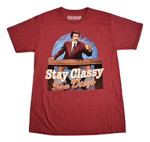 Anchorman Mens Ron Burgandy Stay Classy San Diego Shirt New S, L, 2XL