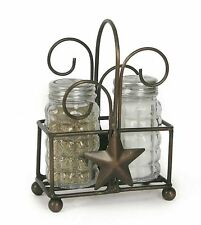 Salt & Pepper Caddy With Shakers Star Design Bronze Finish Primitive Country