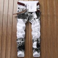 Men's Stretchy Splash-ink Print Skinny Biker Jeans Stylish Slim Fit Denim Pants