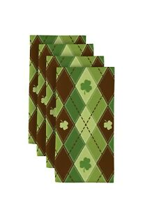 "Lucky Green Shamrock Argyle 18"" x 18"" Napkins 1 Dozen"