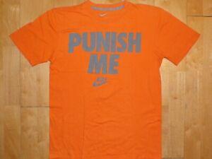 NIKE Mens STANDARD FIT Athletic Orange Medium M Workout Shirt T-Shirt PUNISH ME