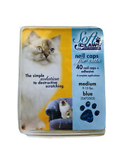 Soft Claws Nail Caps for Cats Kittens Paws Medium Blue 40 Caps And Adhesive