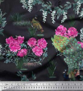 Soimoi Cotton Poplin Fabric Leaves|Floral & Peacock Bird Print Fabric-uSh