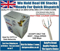BRAND NEW ROLL OF 305M UTP CAT5E ETHERNET NETWORK CABLE 8 SOLID CORES FAST POST