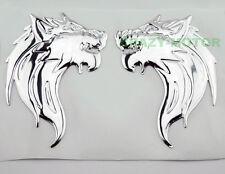 Motorcycle Chrome Soft 3D Wolf Fuel Gas Tank Fairing Badge Emblem Decal Sticker