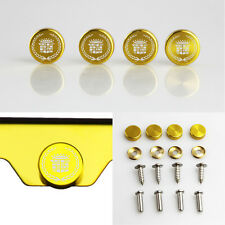 Laser Etched 4 Gold Aluminum Cadillac License Plate Frame Fastener Screws Cap(Fits: Cadillac Catera)
