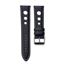 Leather Rally Watch Strap Black Grand Prix Racing Sports Style Band with Pins