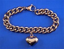 STAINLESS STEEL ROSE GOLD TONE CURB LINK CHAIN PUFFED HEART CHARM BRACELET