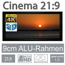 """HiViLux 3D/4K/UHD ALU Rahmen Leinwand 21:9/125""""/292x125cm/5J.Garantie/Schienen/X"""