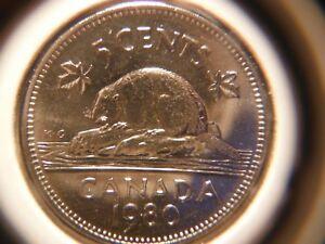 1980 Five Cents Nickel ***** Slightly toned near date ***** Choice BU