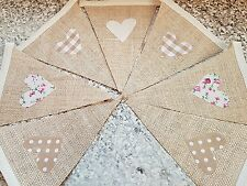 HANDMADE VINTAGE STYLE BUNTING - HESSIAN WITH NEW NEUTRAL HEARTS