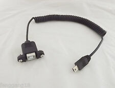 USB 2.0 B Female Panel Mount To Mini USB 5 Pin Male Coiled Spiral Adapter Cable
