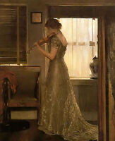 Oil painting joseph rodefer de camp - the violinist young lady playing violin @@