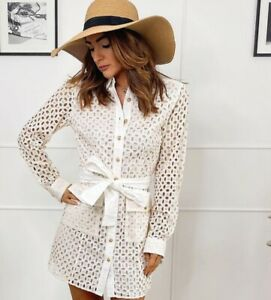 ZARA ECRU TAILORED BELTED SHIRT DRESS WITH CUTWORK EMBROIDERY FLAP POCKETS XS