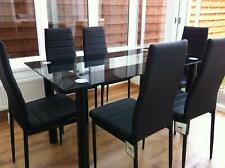 ***BEAUTIFUL*** GLASS BLACK DINING TABLE SET & 6 FAUX LEATHER CHAIRS