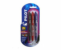 Pilot FriXion Erasable Rollerball Pen | 0.7mm Tip | Pack of 3 (Black, Blue, Red)