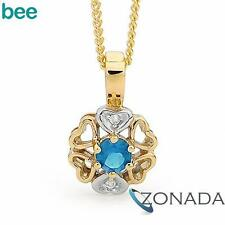 New Diamond Blue Topaz Heart Petal 9k 9ct Solid Yellow Gold Drop Pendants