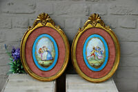 Antique pair Wall panel sevres porcelain plaque romantic scene Framed rare