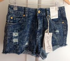 Primark Denim Shorts Acid Wash Ripped Destroyed Hotpants BNWT Size UK 10