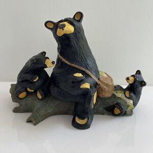 "JEFF FLEMING Bearfoots ""Boys Day Out"" Bears Figurine RARE Tree Basket of Fish"