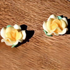 2 Perles FIMO POLYMÈRE - ROSE - Jaune - 11/20 mm