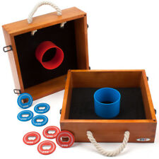 Premium Outdoor Solid Wood Washer Toss Game Set For Backyard, Lawn & Beach