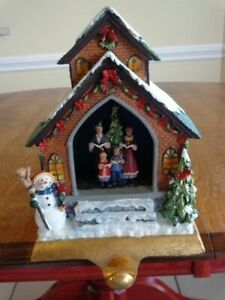 CHRISTMAS STOCKING HOLDER SINGING CAROLERS LIGHTS UP AND SINGING