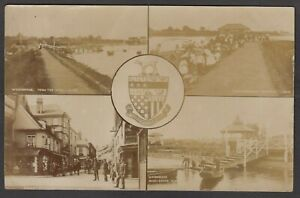 Postcard Woodbridge nr Ipswich Suffolk town crest Multiview posted 1910 RP