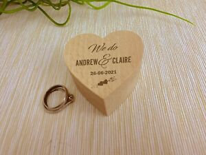 We Do Cupid Bow Wedding Ring Carrier Heart Box Personalised Engagement Gift